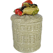 Lefton Basketweave Cookie Jar - Vegetable Motif