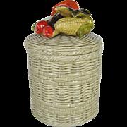 Lefton Basketweave Cookie Jar - Vegetable Motif