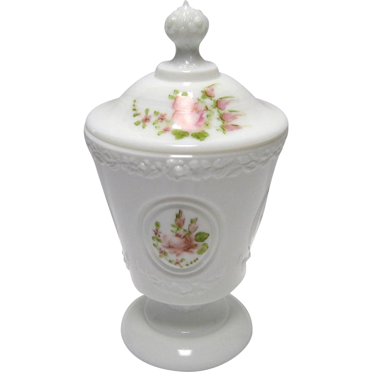 Fenton Pink Roses on Silver Crest Medallion Candy Box