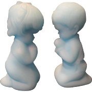 Fenton Blue Satin Praying Boy and Girl