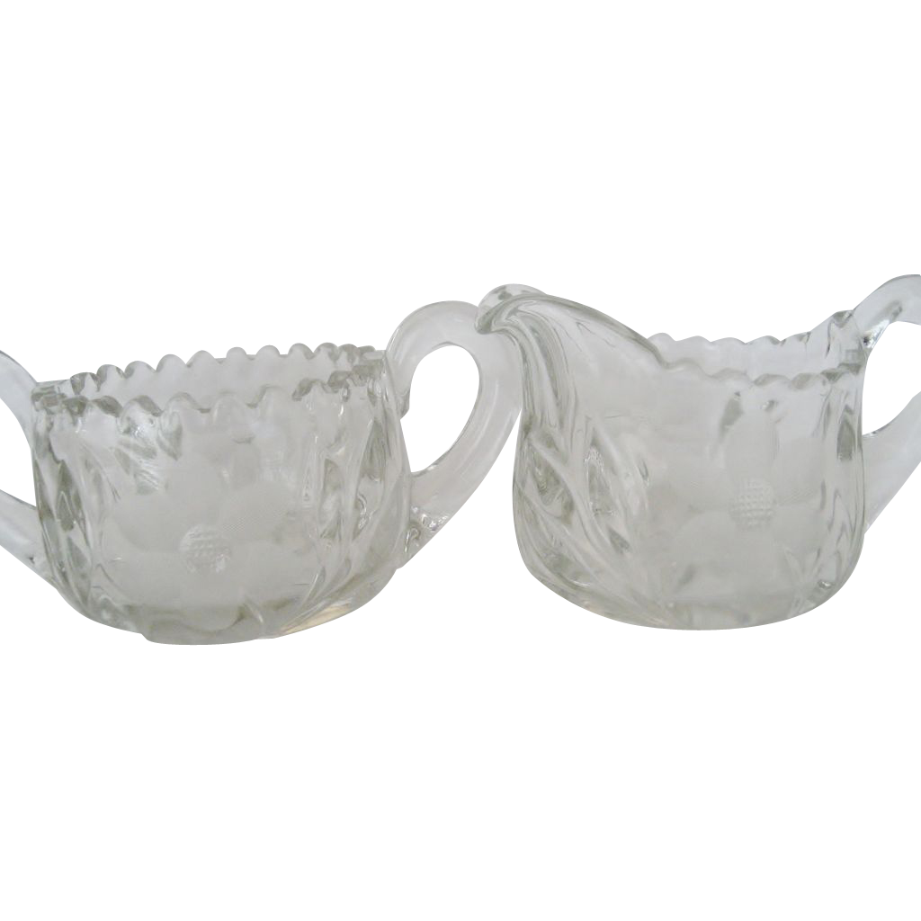 Crystal Saw Tooth Creamer and Sugar - Etched Flower