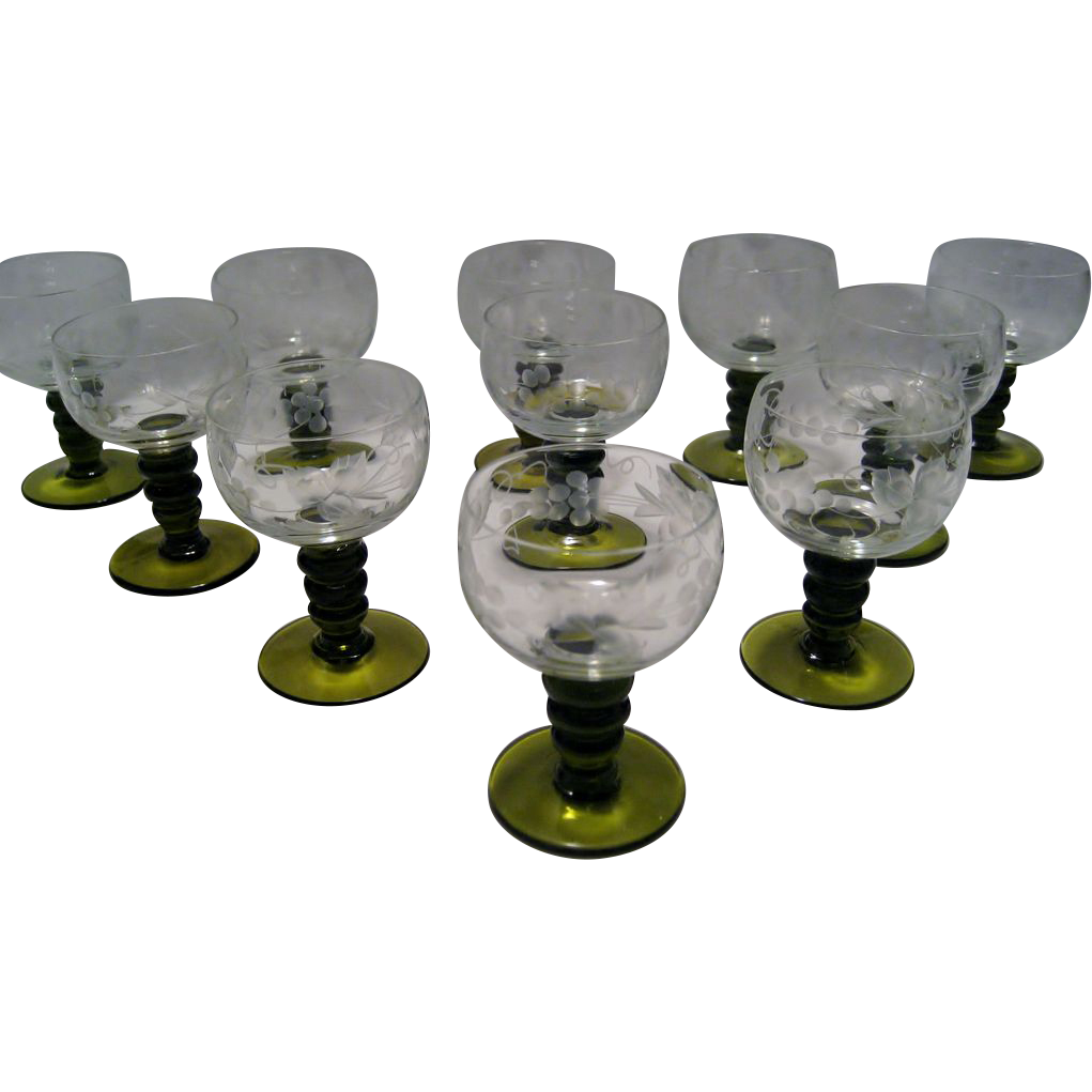 11 Etched Crystal 1 Ounce Pony Goblets - Olive Green Button Stems