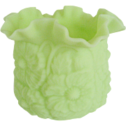 Fenton Lime Green Satin Deep Poppy Vase