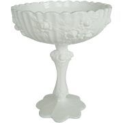 "Fenton White Milk Glass ""Roses"" Compote"