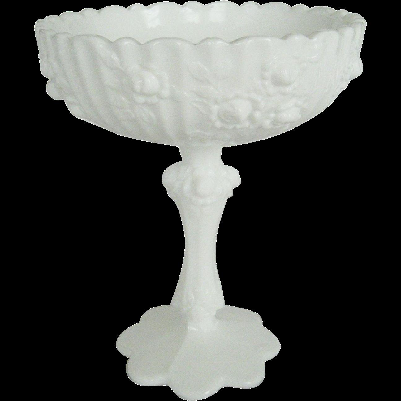 "Fenton White Milk Glass ""Roses"" Compote"