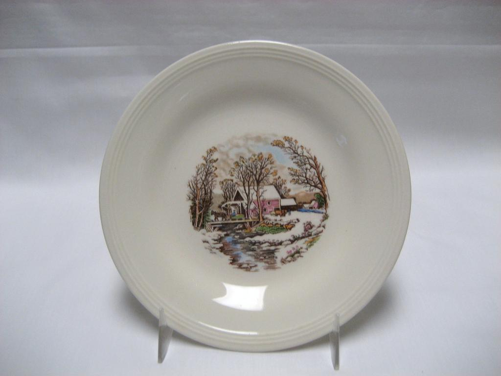 Set of 9 Edwin Knowles Bread & Butter Plates - Winter Scenes