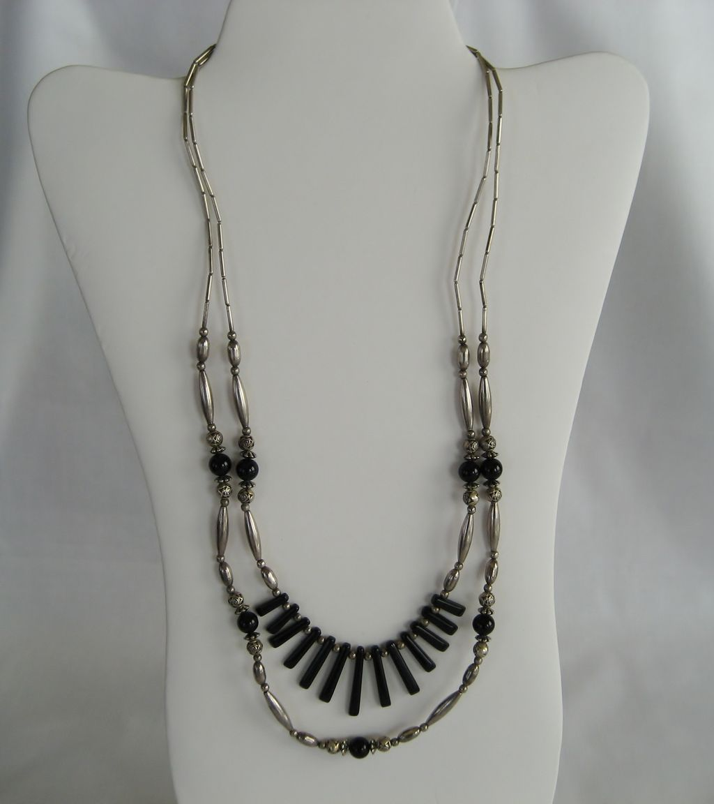 Silvertone and Black Double Strand Necklace