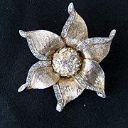 Les Bernard Flower Shaped Goldtone and Rhinestone Brooch