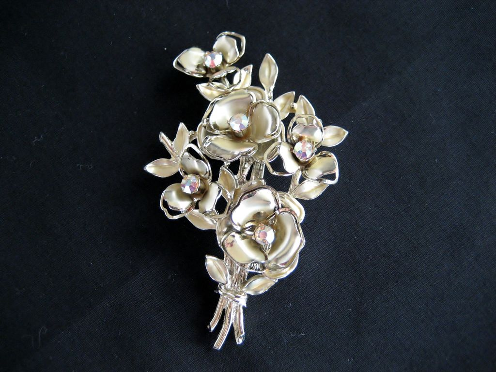 Coro Goldtone and Aurora Borealis Rhinestone Brooch