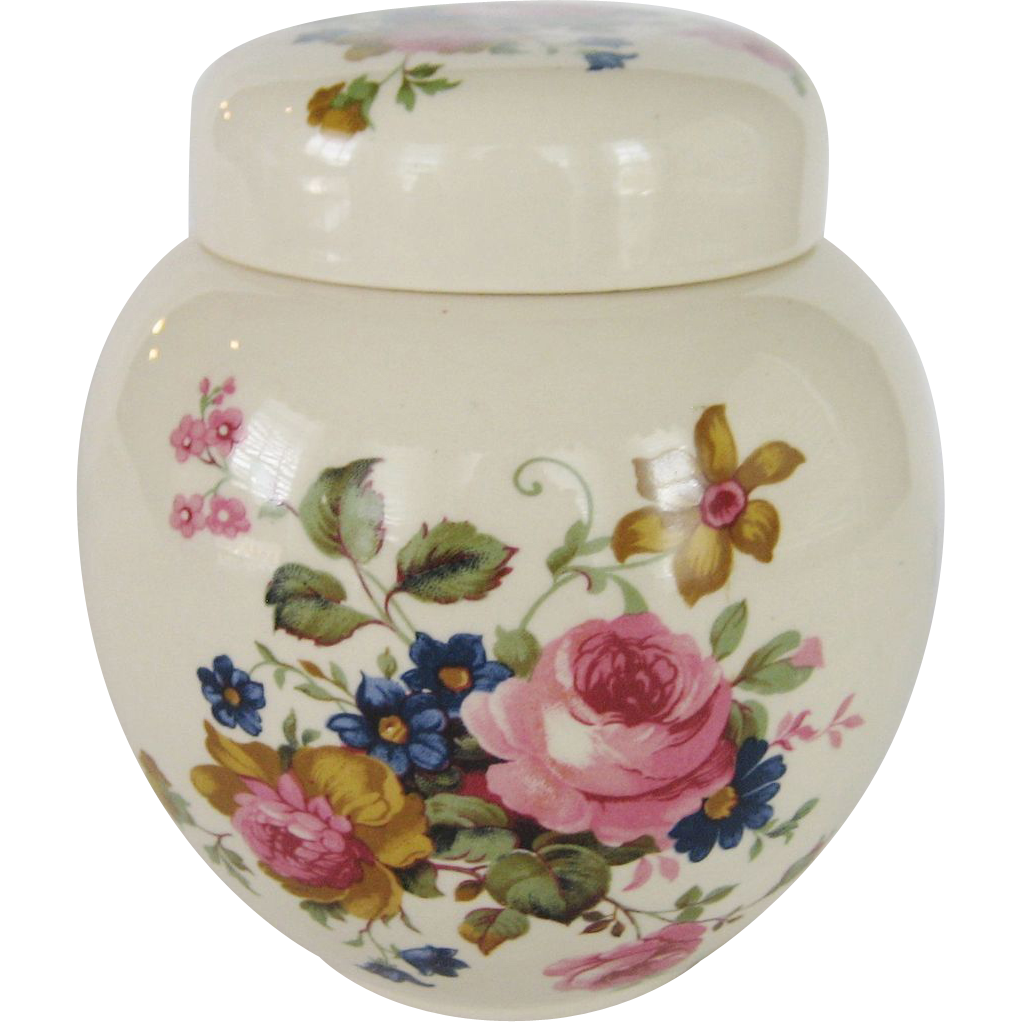 Sadler Staffordshire England Flowered Ginger Jar
