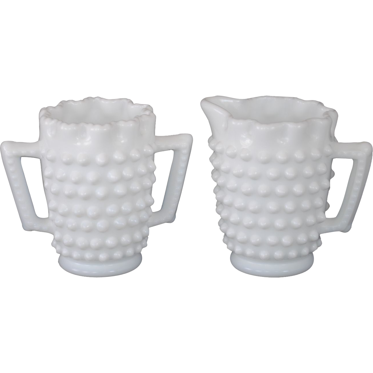 Fenton White Hobnail Milk Glass Mini Creamer and Sugar