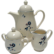Noritake Keltcraft Blue Chintz Coffee Pot With Cream & Sugar
