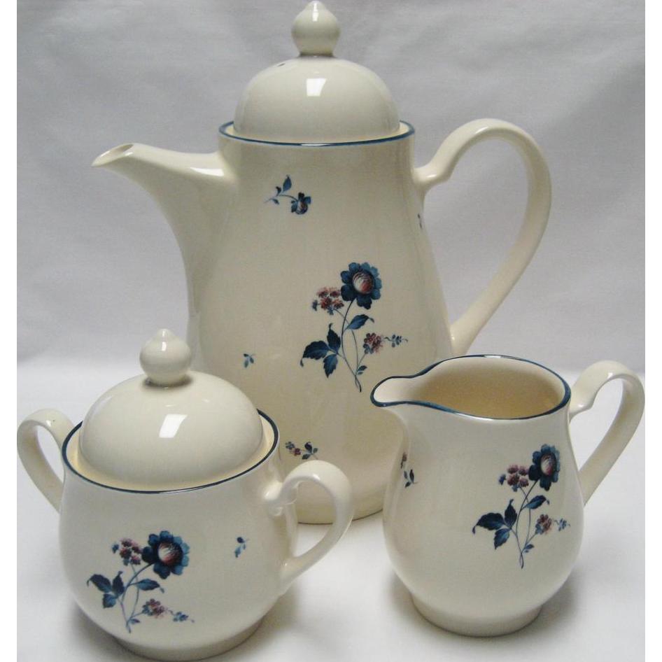 Noritake Keltcraft Blue Chintz Coffee Pot With Cream & Sugar