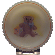 Fenton Hand Painted Teddy Bear Cup Plate and Stand