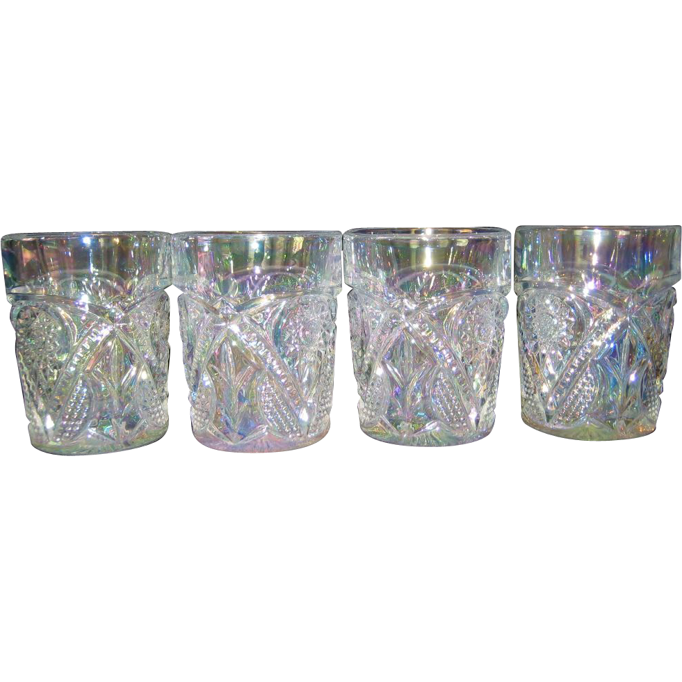 Set of 4 Mosser White Opalescent Tumblers