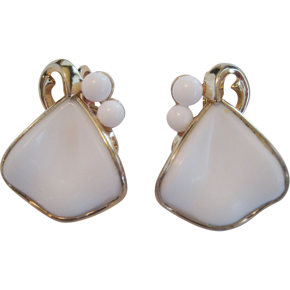 Crown Trifari White Milk Glass Earrings