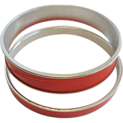 Pair of Monet Red Bangle Bracelets