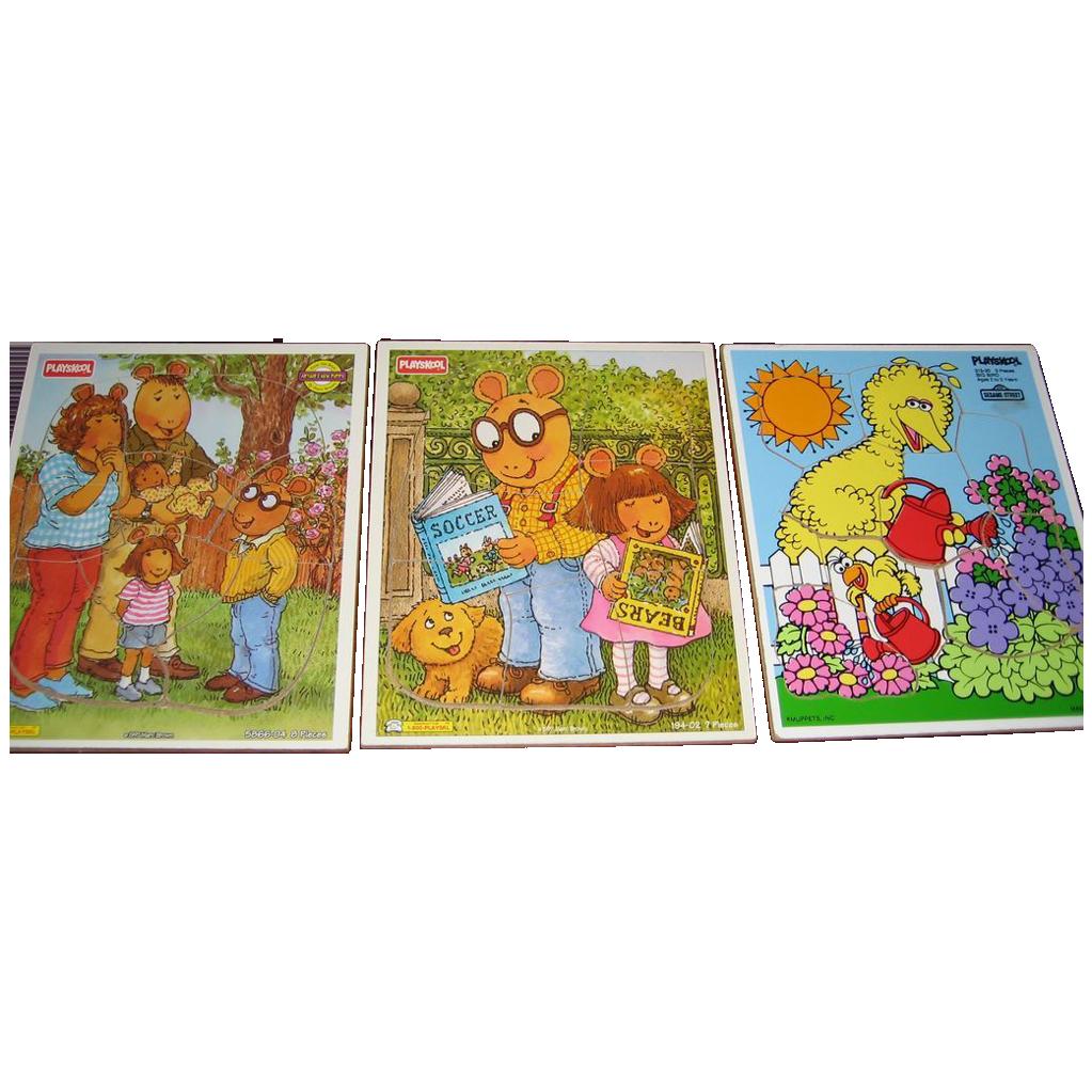 Set of 3 Playskool Puzzles - 1 Big Bird - 2 Arthur