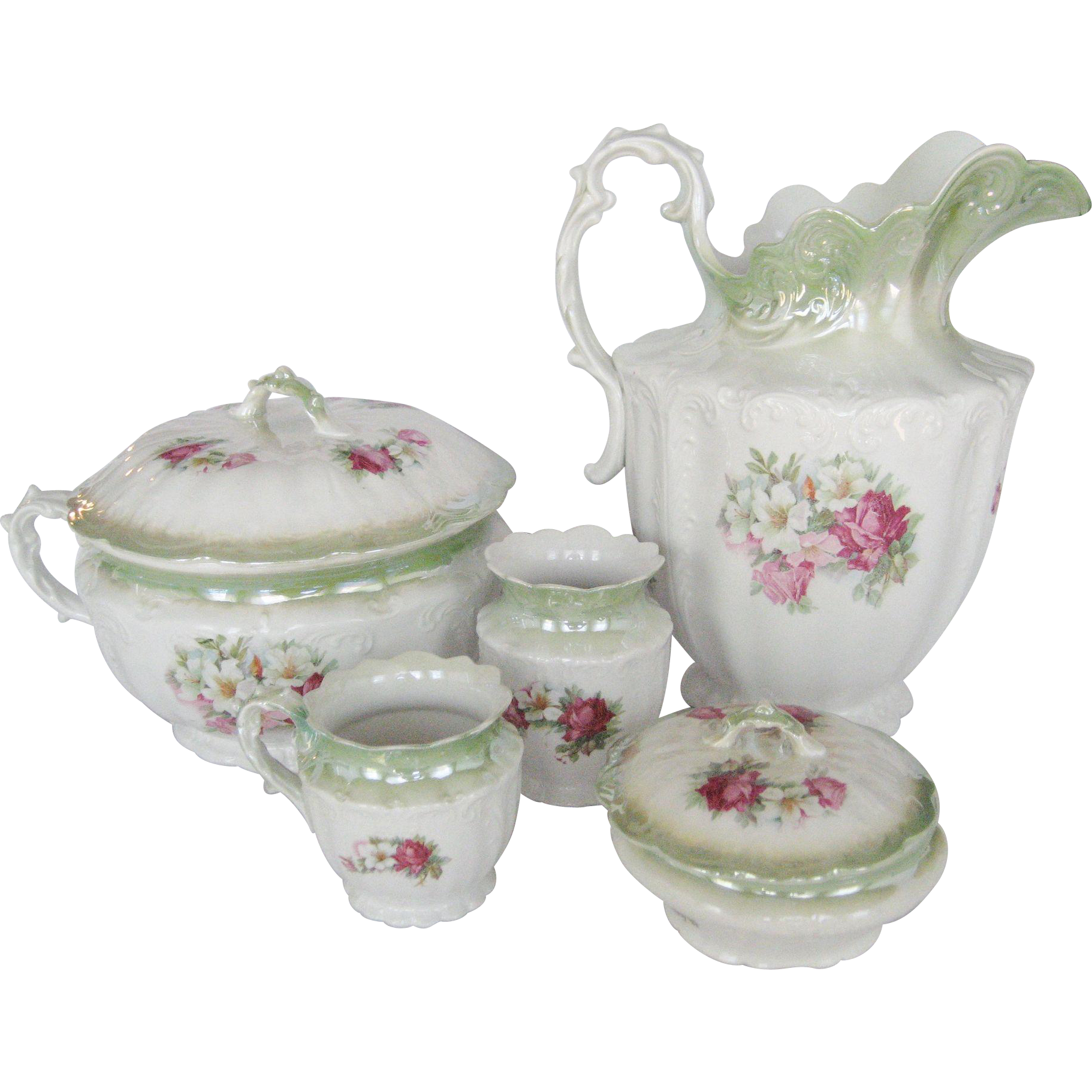 Antique Five Piece Wash Set - Floral Pattern