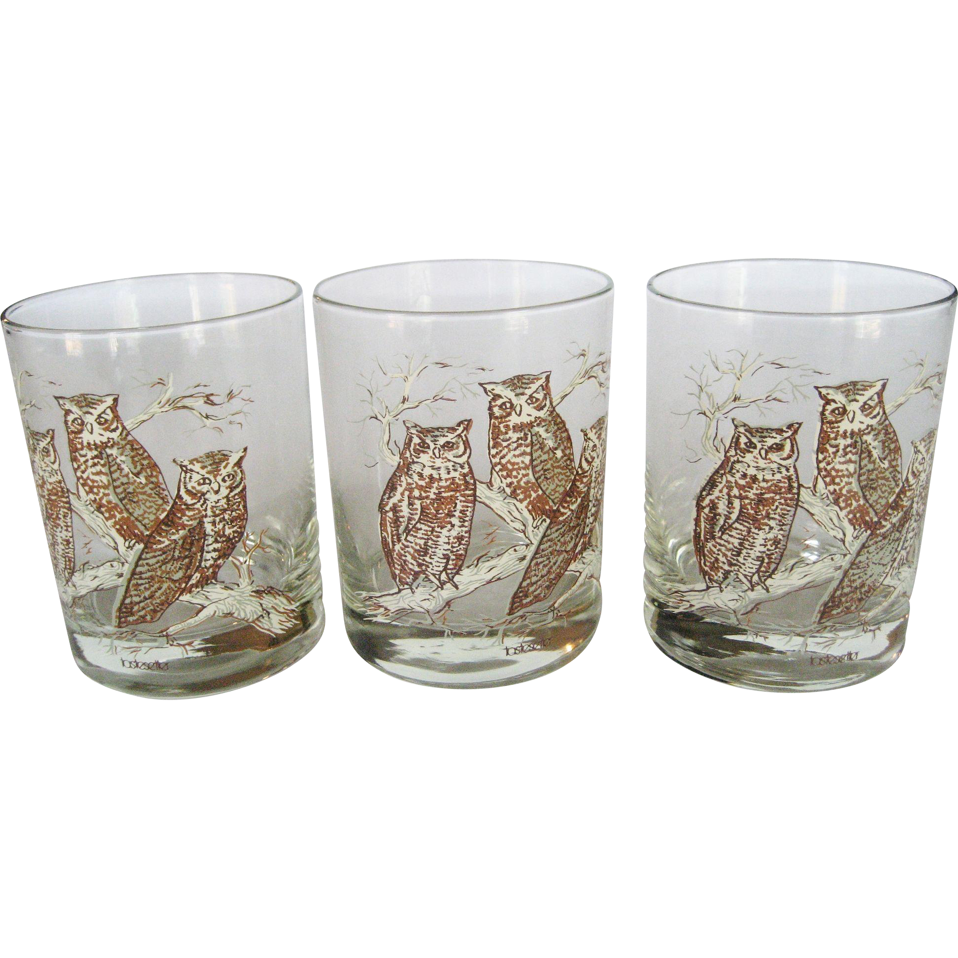 "Set of 3 ""Tastesetter"" Owl Old Fashion Glasses"