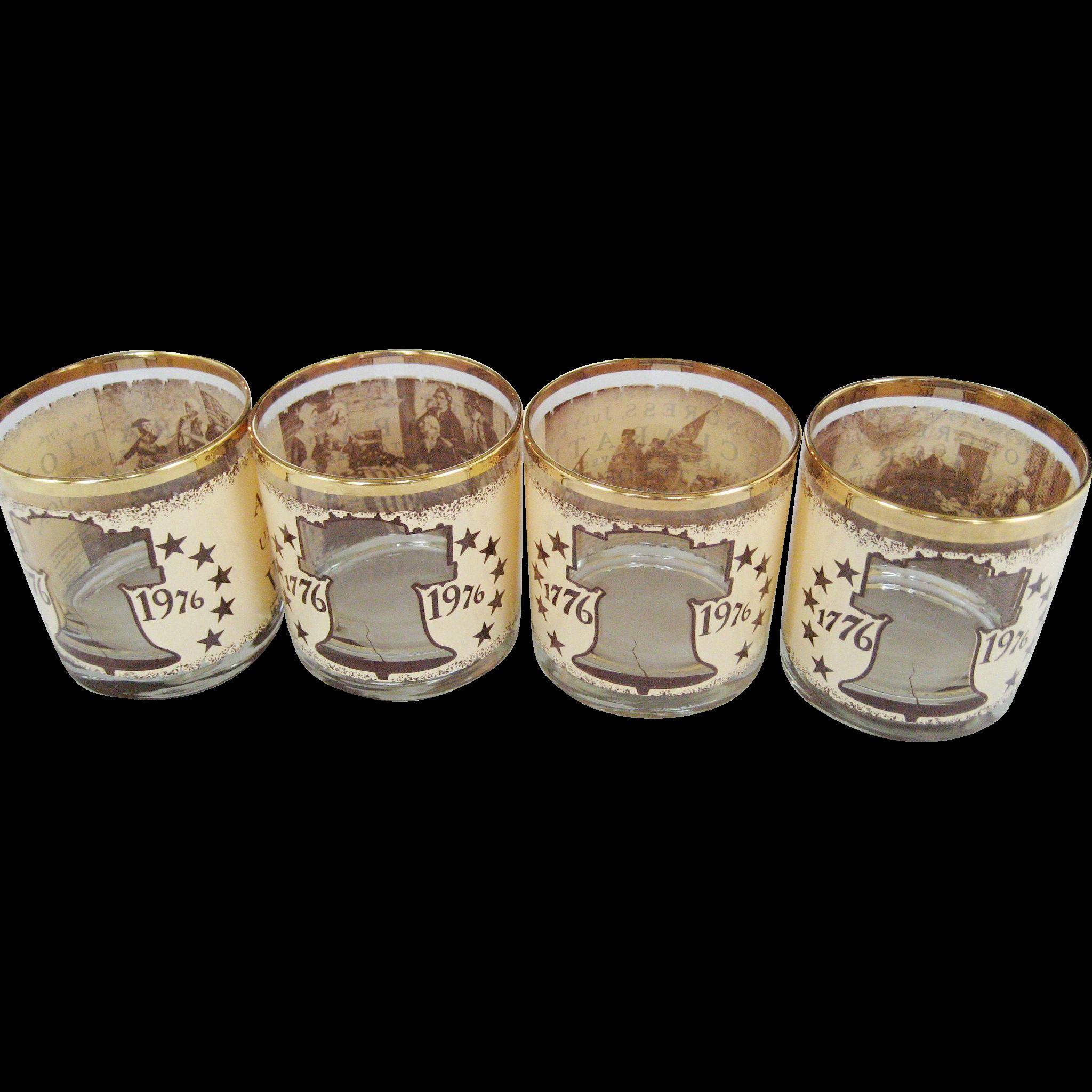 Set of 4 Bi-Centennial Old Fashion Glasses
