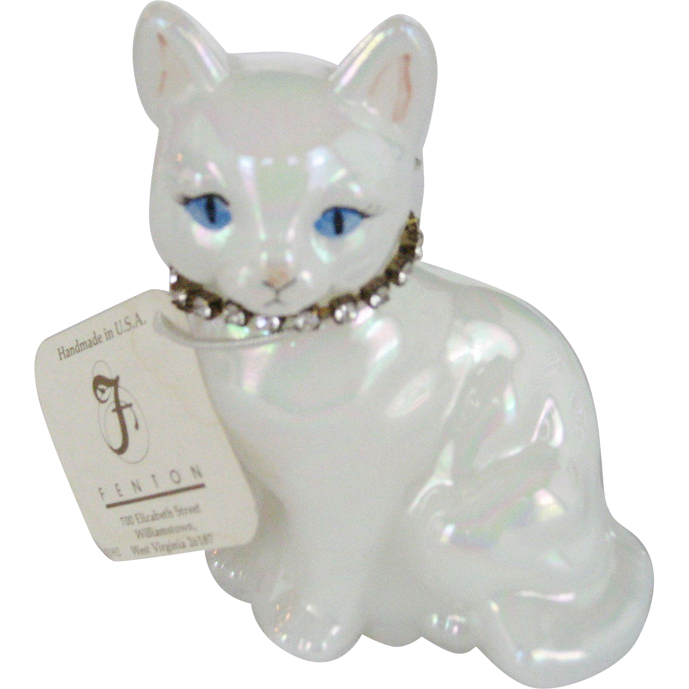 Fenton April Birthstone Cat