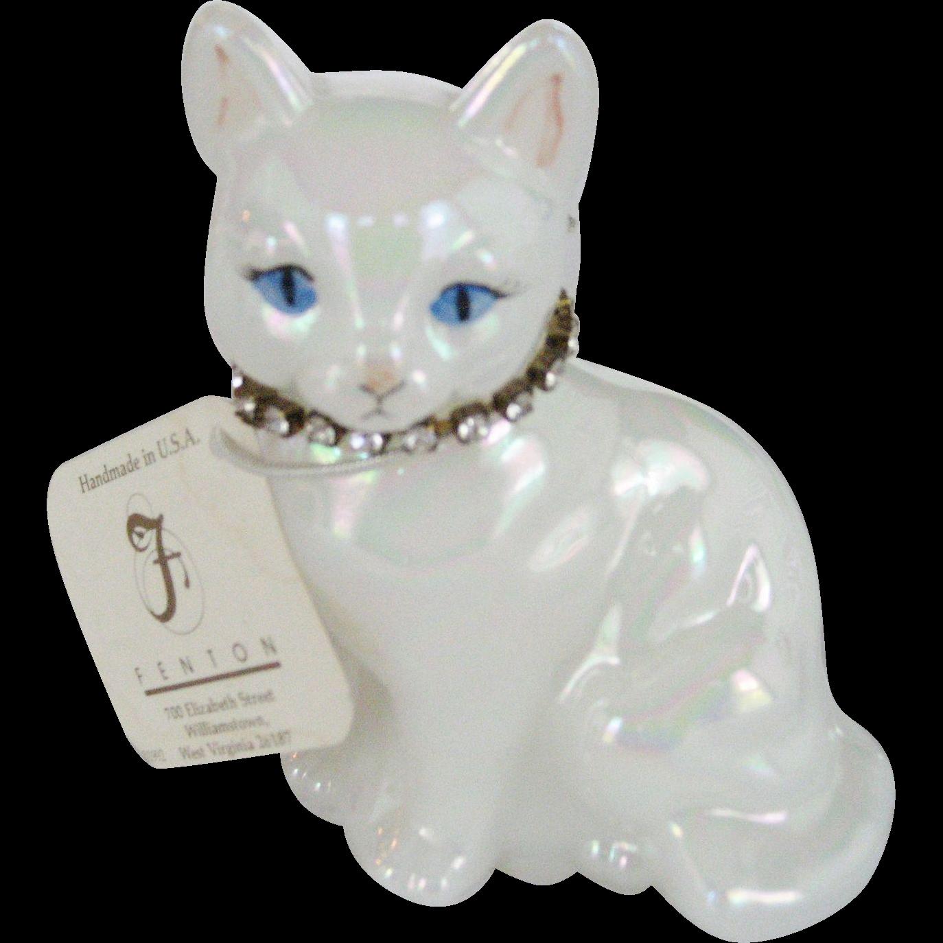 Fenton April Birthstone Cat
