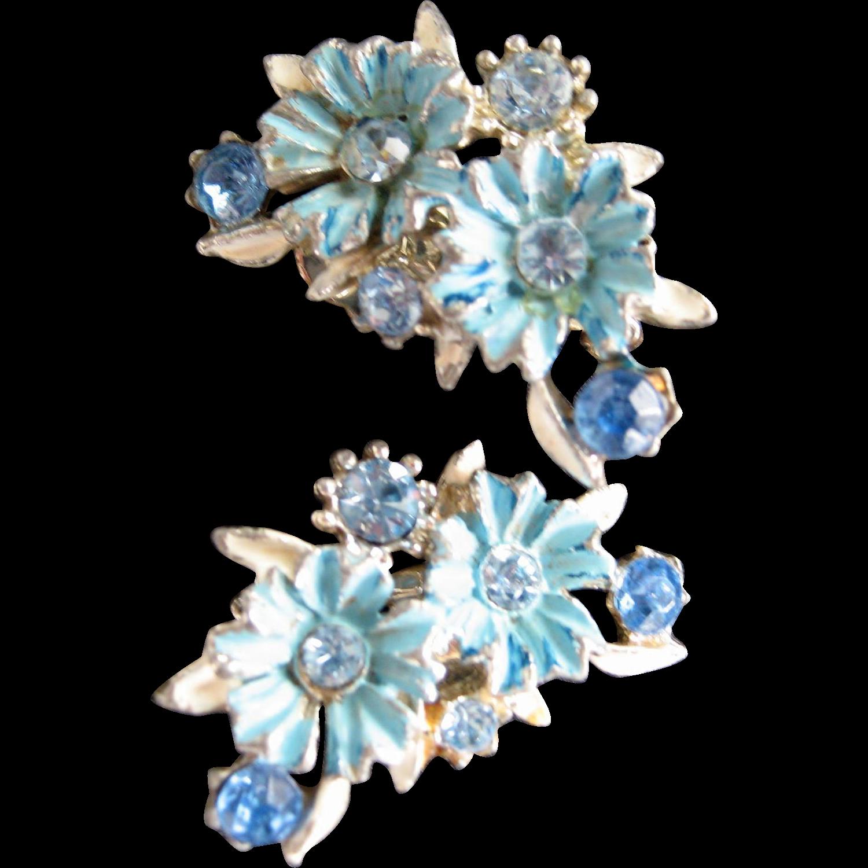 Blue Enameled and Rhinestones Clip-On Earrings