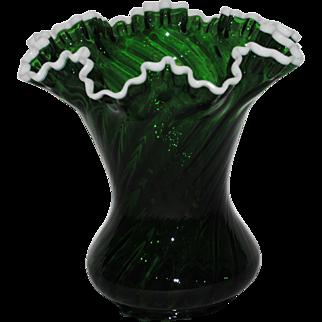 Large Fenton Dark Green Snowcrest Vase