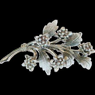 Green and White Leaf Brooch - Enamel on Goldtone