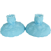 """Pair of Fenton Blue Satin """"Water Lily"""" Candle Holders"""