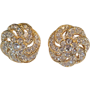 "Rhinestone on Goldtone Pierced Earrings Signed ""Roman"""