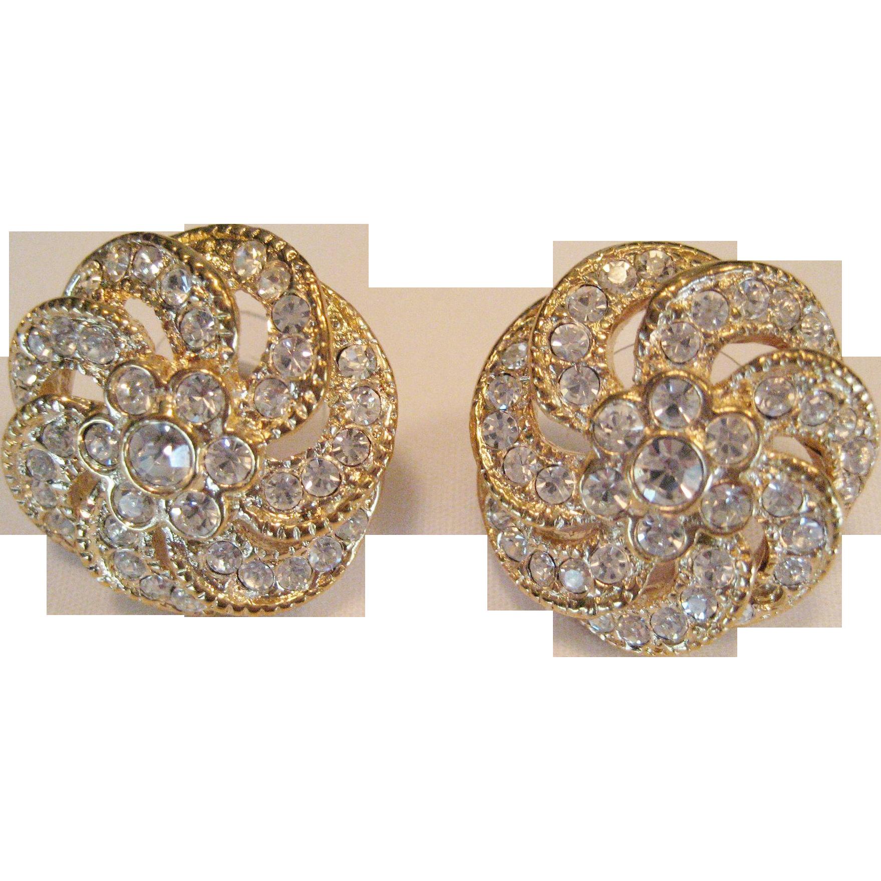 """Rhinestone on Goldtone Pierced Earrings Signed """"Roman"""""""
