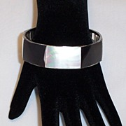 Black and Mother of Pearl Bangle Bracelet