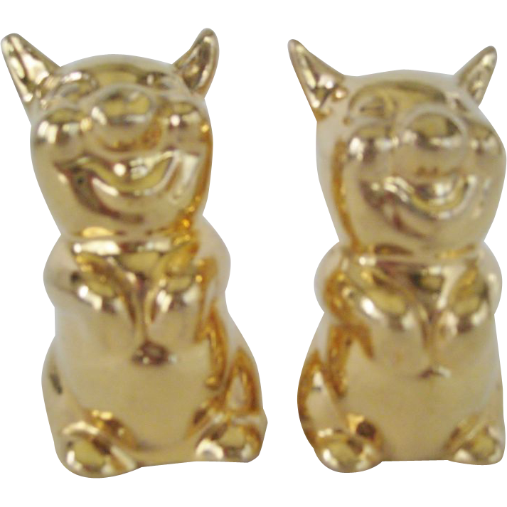 Gold Colored Pig Salt and Pepper Shakers