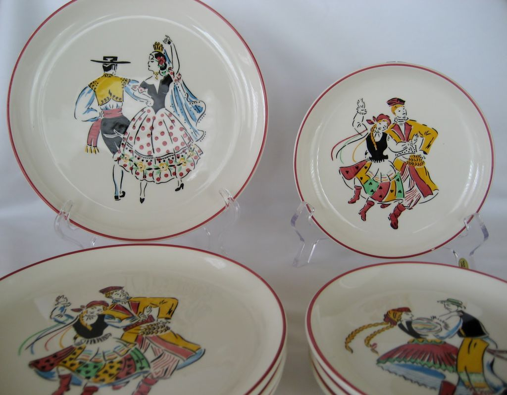 Set of 8 West Germany Ethnic Folk Dancer Plates