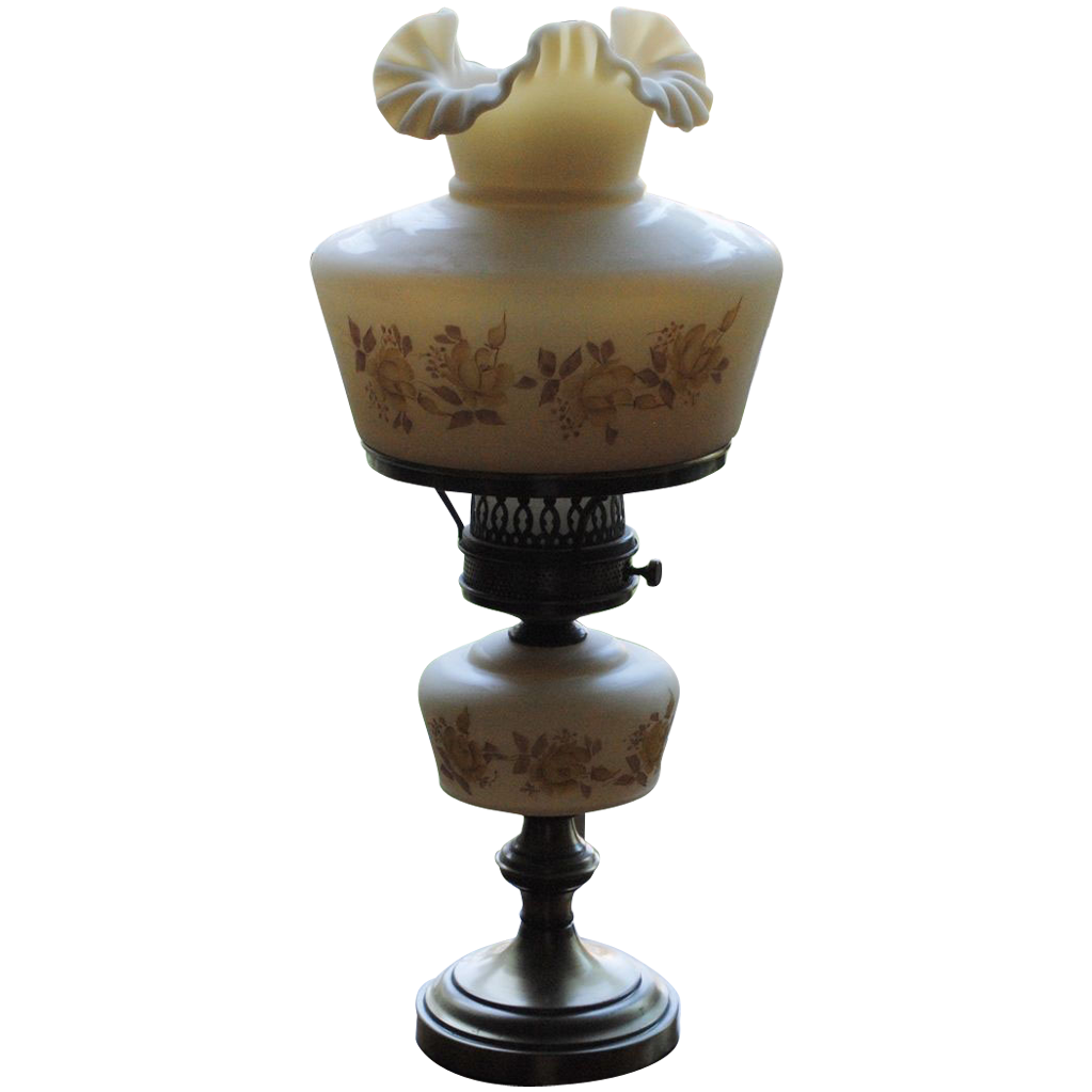 Fenton Chocolate Roses on Cameo Satin Student Lamp