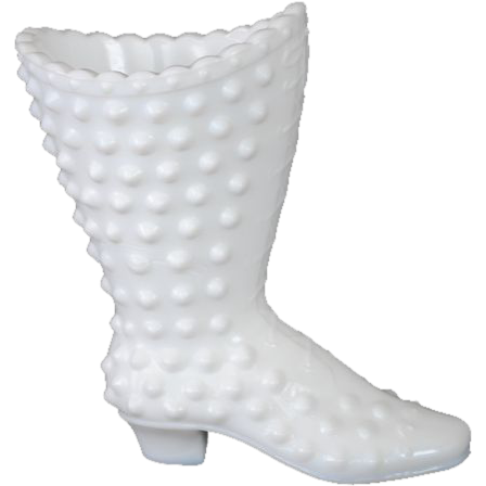 Fenton White Milk Glass Hobnail Boot