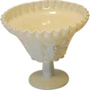 Westmoreland White Milk Glass Paneled Grape Compote