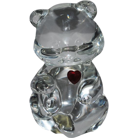 Fenton Red Heart Crystal Birthday Bear
