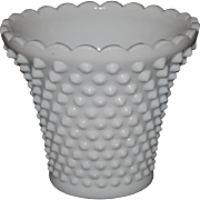 Fenton White Milk Glass Hobnail Planter/Vase