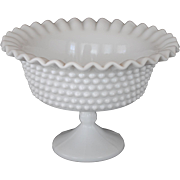 White Milk Glass Hobnail Footed Compote With Pie Crust Edge