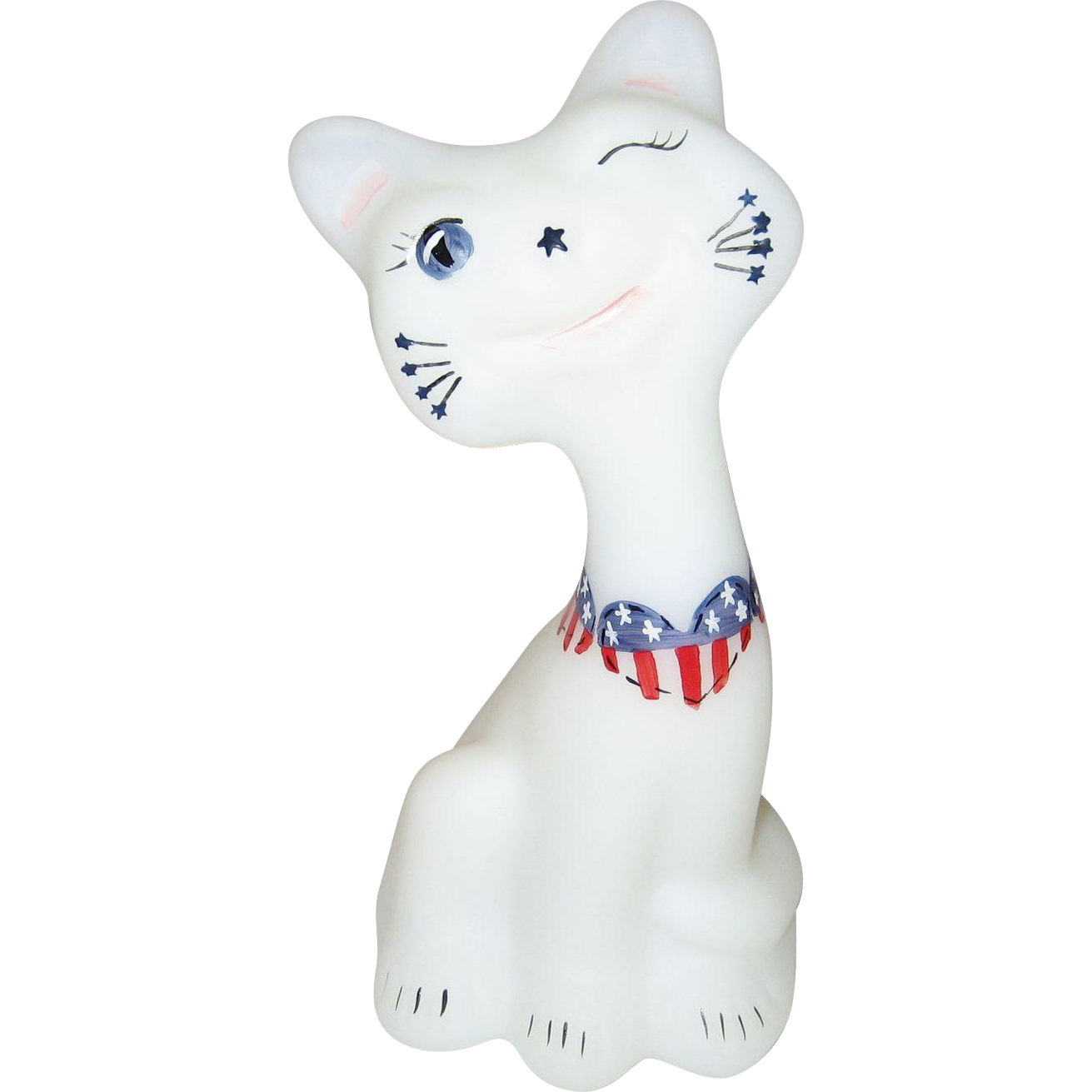 Fenton Patriotic Heart Happy Cat