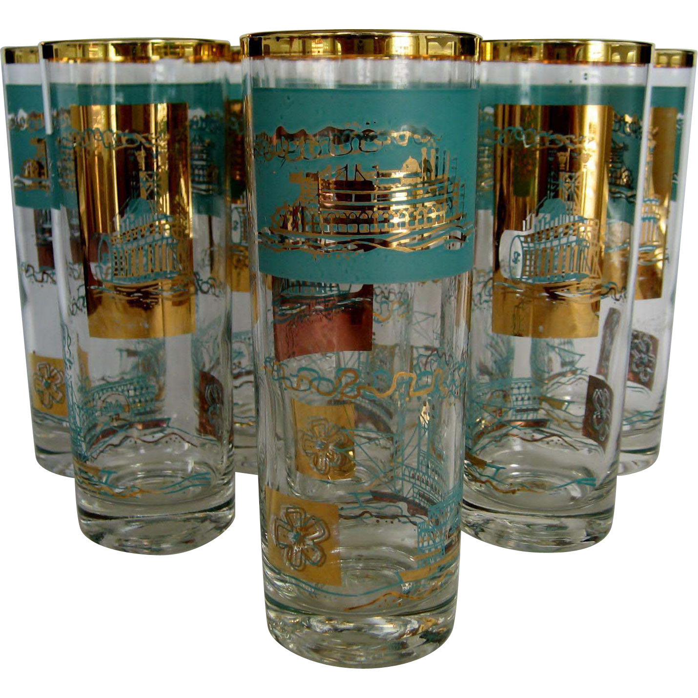 Set of 8 Highball Glasses - Steamboat Theme