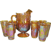 Indiana Glass Marigold Carnival Pitcher and 9 Glasses
