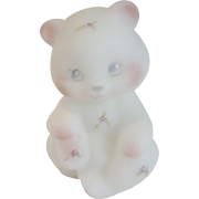 Fenton Berries and Blossoms White Satin Sitting Bear