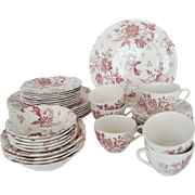 "J & G Meakin ""Tudor Rose"" Dinnerware - 41 Pieces"