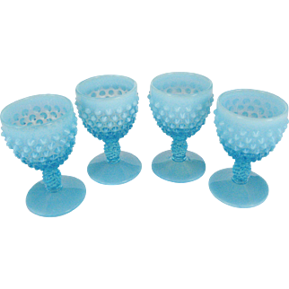 Set of 4 Fenton Blue Opalescent Hobnail Wine Glasses