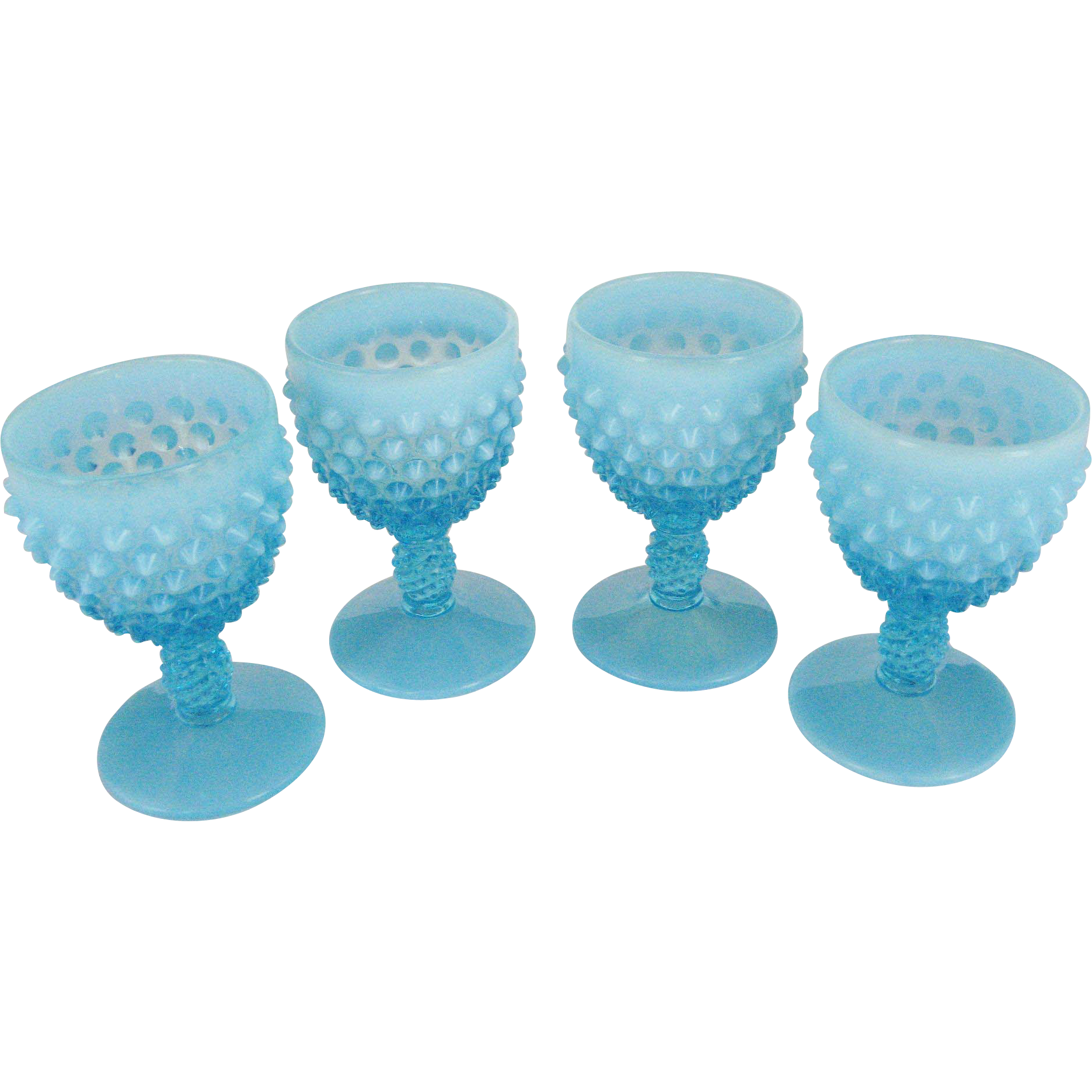 Set of 4 Fenton Blue Opalescent Hobnail Wine Glasses
