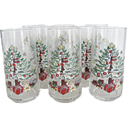 "Set of 9 Anchor Hocking ""Holiday Magic"" Tumblers"